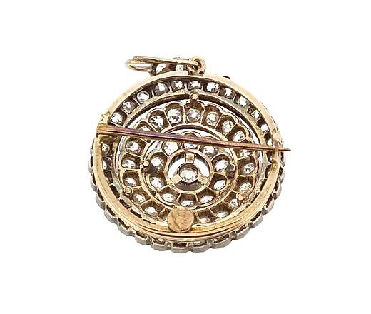 Antique Victorian Old-Cut Diamond Pendant Brooch, 5.00cts, Set in silver and gold.