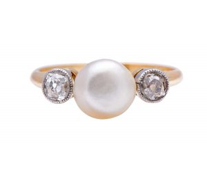 Antique Edwardian Natural Pearl and Diamond Three-Stone Ring
