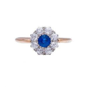 Antique Edwardian Sapphire and Diamond Cluster Ring. 0.75 carat