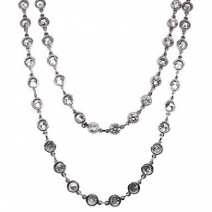 Contemporary Diamond and Platinum Chain Necklace, 7.77 carat total
