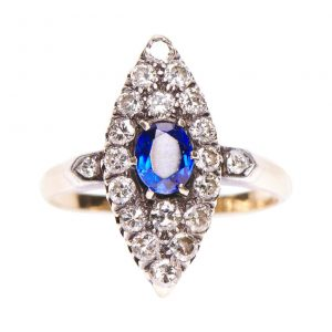 Antique Victorian Sapphire and Diamond Marquise Cluster Ring, c.1890
