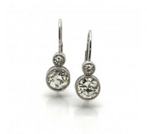 Diamond and Platinum Drop Earrings, 2.47 carat total