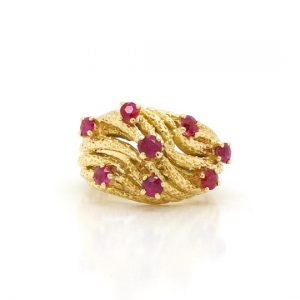 Vintage Ruby and 18ct Yellow Gold Rope Effect Ring, Circa 1950