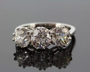 Vintage Old-Cut Diamond Three-Stone Ring, 3.52cts, set in Platinum