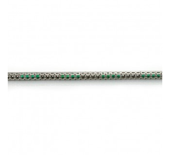 Emerald Diamond and Platinum Line Bracelet, 4.49 carat total