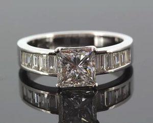 Princess Cut Diamond Engagement Ring, Baguette Cut Shoulders, 2.27cts