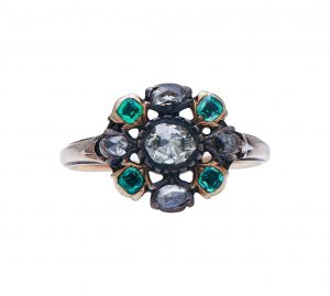 Antique Georgian Emerald and Diamond Flower Cluster Ring