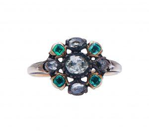 Antique Georgian Emerald and Diamond Flower Cluster Ring