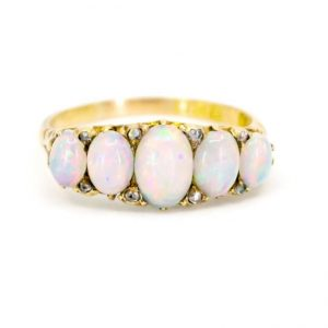 Antique Victorian Opal and Diamond Five-Stone Ring, Circa 1900