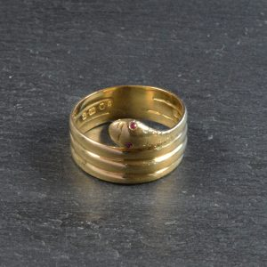 Antique Early 20th Century Ruby Set Snake Ring in 18ct Yellow Gold