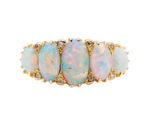 Antique Victorian Opal and Diamond Five-Stone Ring in 18ct Yellow Gold