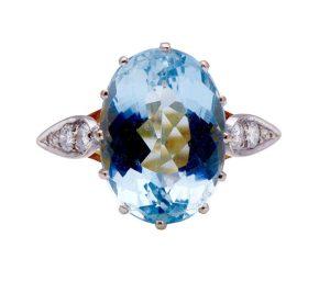 Vintage 1950's Aquamarine and Diamond Dress ring, 6.12 carats