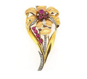 Vintage 18ct Yellow Gold, Ruby and Diamond Floral Brooch