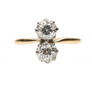 Antique Edwardian Diamond Two-Stone Engagement Ring, 1.00 carat total