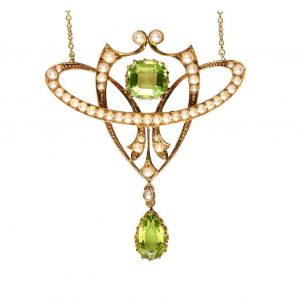 Antique Edwardian Peridot and Seed Pearl Pendant in Original Fitted Box