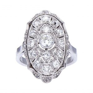 Edwardian Style Old Cut Diamond Oval Plaque Dress Ring