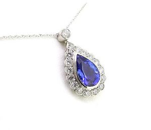 3.50ct Tanzanite and Diamond Pear-Shaped Cluster Pendant, in 18ct white gold