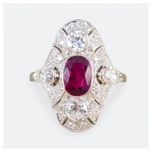 Art Deco Style Ruby and Diamond Navette Plaque Ring, 1.50cts, Platinum