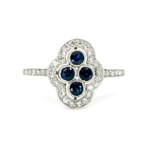 Vintage Sapphire, Diamond and Platinum Plaque Ring, 0.80 carats