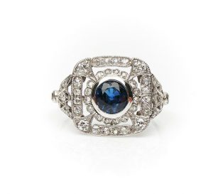 Belle Epoque Sapphire, Old-Cut Diamond and Platinum Cocktail Ring