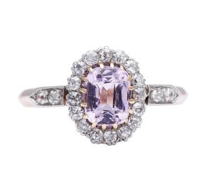 Antique Edwardian Oval Pink Sapphire and Diamond Cluster Ring, 1.90cts