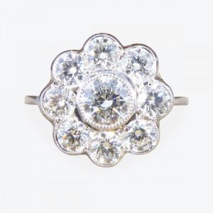 Contemporary Diamond Daisy Cluster Ring in Platinum, 1.70 carat total