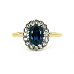 Antique Victorian Sapphire and Diamond Oval Cluster Ring, 1.90cts