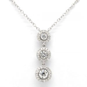 Diamond Trilogy Cluster Pendant Necklace, 0.63cts, in 18ct White Gold