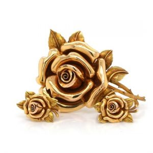 Vintage 1940's 18ct Yellow Gold Flower Brooch with Matching Earrings