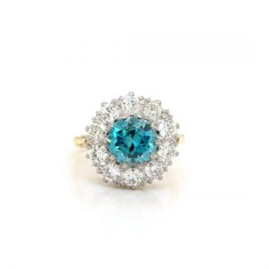 Early 20th Century Blue Zircon and Diamond Cluster Ring, 4.80 carat total