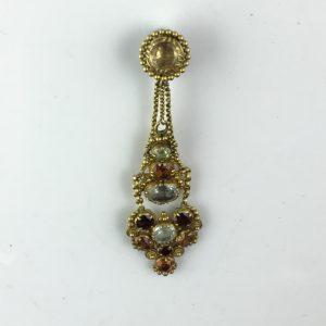 Early 19th Century Regency Multi Gem Set Cannetille Pendant in Gold