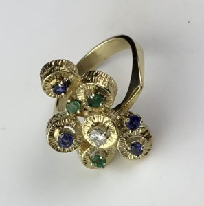 Vintage Abstract Designer Sapphire and Emerald Gold Ring