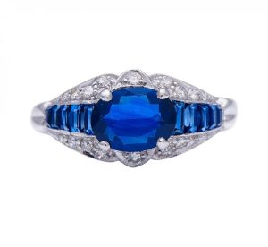 Vintage 1940's Sapphire and Diamond Engagement Ring, 2.10 carat total