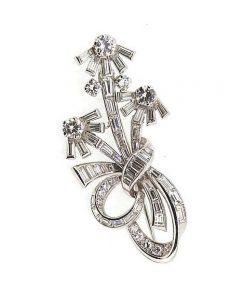 Vintage 1950's Diamond Floral Spray Brooch, 3.50cts, in Platinum