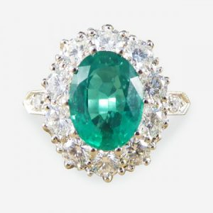 Emerald and Diamond Oval Cluster Ring, 3.45 carat total, in Platinum