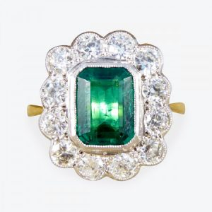 Emerald-Cut Emerald and Diamond Floral Cluster Ring, 2.75cts, 18ct Gold