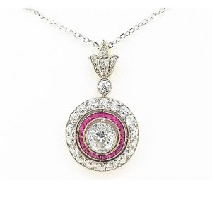 Diamond and Ruby Target Cluster Pendant, 5.00cts, 18ct White Gold