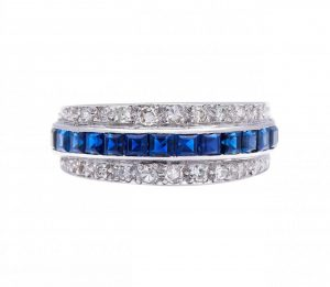 Vintage Sapphire, Diamond and Platinum Band Ring, 1.48 carat total