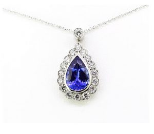 Tanzanite and Diamond Pear-Shaped Cluster Pendant, 3.50cts, 18ct Gold