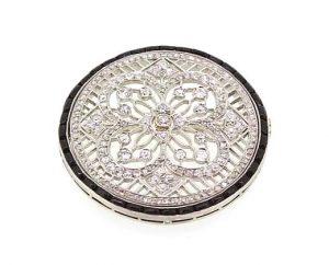 Art Deco Diamond Onyx and Platinum Circular Brooch