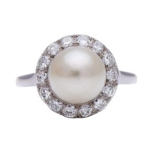 Antique Belle Epoque Natural Pearl and Diamond Cluster Ring, Certified