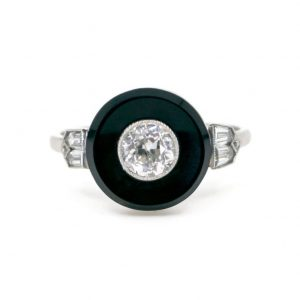 Art Deco Style Diamond, Onyx and Platinum Target Ring, 0.67cts
