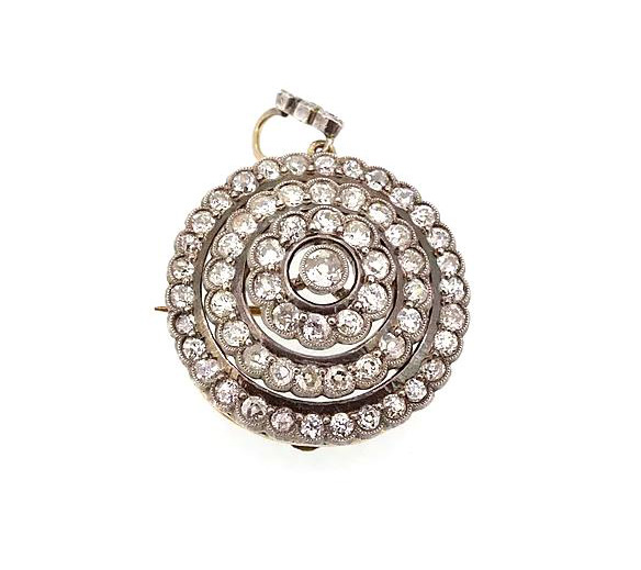 Antique Victorian Old-Cut Diamond Pendant Brooch, 5.00 carat total, old-cut diamond brooch with detachable pendant fitting. Set in silver, backed with gold.