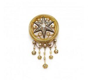 Antique Austrian Diamond Enamel and Gold Star Brooch Pendant, c.1880