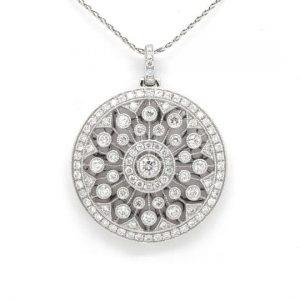 Diamond Circular Openwork Pendant, 1.46cts, 18ct White Gold