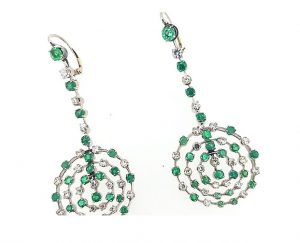 Contemporary Emerald and Diamond Circular Openwork Drop Earrings
