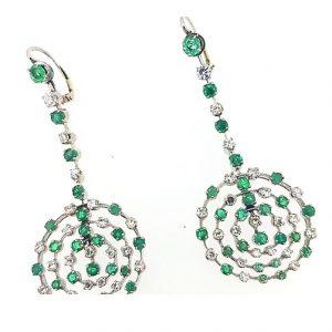 Contemporary Emerald and Diamond Circular Openwork Drop Earrings; round emeralds and brilliant-cut diamonds set in openwork circle design, 18ct white gold.
