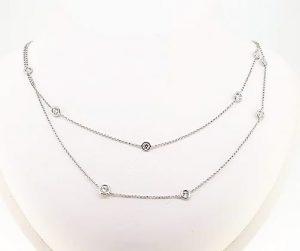 Brilliant-Cut Diamond Long Chain Necklace, 2.72 carats, 18ct White Gold