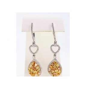 Contemporary Yellow and White Diamond Drop Earrings, 3.00 carats