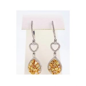 Contemporary Yellow and White Diamond Drop Earrings, 3.00cts; pear yellow diamond set drop, surrounded by white diamonds, heart accent, 18ct white gold.